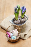 Easter wicker basket of eggs on wooden table Royalty Free Stock Photo