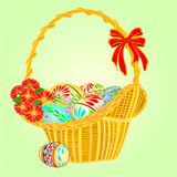 Easter wicker and easter eggs vector Royalty Free Stock Image