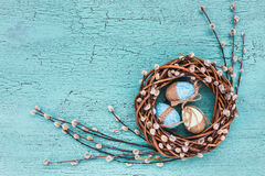 Easter willow wreath and blue Easter eggs on blue background. Stock Photography
