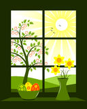 Easter window. Illustrated easter eggs in bowl and bunch of daffodils in vase at window Royalty Free Stock Photo