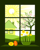 Easter window. Illustrated easter eggs and daffodils at window Stock Photos