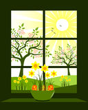 Easter window. Easter eggs and daffodils in bowl at window Stock Photos