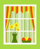 Easter window. Bunch of daffodils and easter eggs in bowl behind window Royalty Free Stock Images