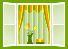 Easter window. Open window with bunch of tulips and easter eggs in bowl Stock Image