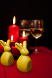 Easter wine on red food still life Royalty Free Stock Images