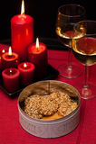 Cookies and wine table setting Stock Images