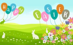 Easter Wish Card in landscape with flower. Easter Wish Card in landscape with the wording `HAPPY EASTER`. green theme, flowers, balloons and rabbit animals used Stock Images