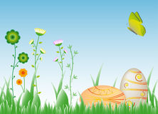 Easter wishes-eggs in the grass Royalty Free Stock Photos