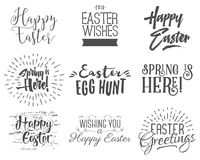 Easter wishes overlays, lettering labels design set. Retro holiday easter badges. Handdrawn emblem with ribbon. Isolated Royalty Free Stock Photos