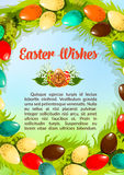 Easter wishes paschal eggs vector poster template Stock Photo