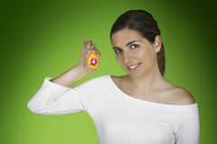 Easter woman with eggs Stock Image