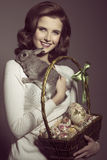 Easter woman with lovely rabbit Royalty Free Stock Images
