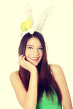 Easter woman with rabbit ears Stock Images
