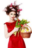 Easter Woman. Spring Girl with Fashion Hairstyle. Portrait of Be Stock Photography