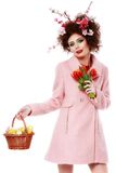Easter Woman. Spring Girl with Fashion Hairstyle. Portrait of Be Stock Photos
