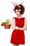 Easter Woman. Spring Girl with Fashion Hairstyle. Portrait of Be Royalty Free Stock Images