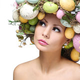 Easter Woman. Spring Girl with Fashion Hairstyle.  Royalty Free Stock Photography