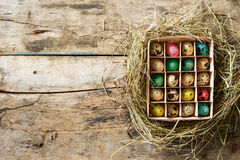 Easter wood background with brushed eggs in nest Royalty Free Stock Photography