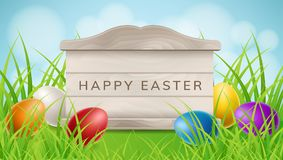 Easter wood frame with eggs in grass. Easter wood frame texture frame in green grass, with colorful Easter eggs. Vector illustration for spring and Easter Stock Photos