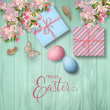 Easter Wooden Background Stock Photos