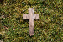 Easter wooden cross on grass Royalty Free Stock Photography