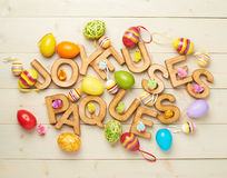 Easter wooden letter composition Royalty Free Stock Photos