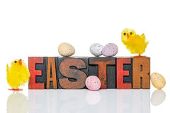 Easter wooden letterpress and chicks Royalty Free Stock Photo