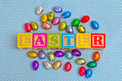 Easter Word In Wooden Block Letters Royalty Free Stock Image