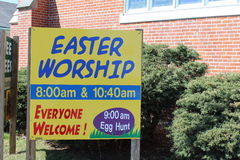 Easter worship and egg hunt Stock Photos