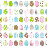 Easter wrapping paper with patterned eggs on white background Stock Photos