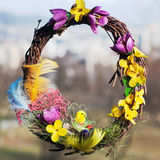 Easter wreath. Colorful decorative easter wreath with flowers Stock Image