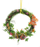 Easter wreath of artificial flowers and leaves Royalty Free Stock Photos