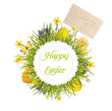 Easter wreath with blank board, baby chicken, egg's and flowers. On white background royalty free stock photos
