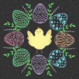 Easter wreath and Chick. Eggs with floral design. Vector seamless background. Stock Image