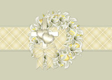 Easter Wreath Christian Greeting Card. This beautiful card is designed with a soft yellow plaid stripe. Which is topped with an easter lilly wreath decorated stock illustration