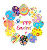 Easter wreath with colorful eggs Stock Images