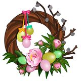 Easter wreath with colorful eggs and pink peonies. Symbol and decoration for holiday. Vector illustration isolated. Easter wreath with colorful eggs and pink Stock Photo
