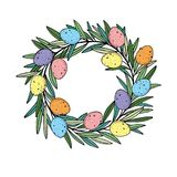 Easter wreath with colororful quail eggs hand drawn black on white background Stock Images