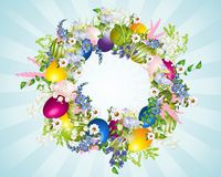 Easter wreath. Easter decoration with a wreath of flowers and eggs Royalty Free Stock Photography