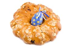 Easter Wreath with an Easter Egg. Easter pastry wreath with a blue easter egg in it Royalty Free Stock Images