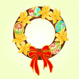 Easter wreath with easter eggs and daffodil vector Royalty Free Stock Photos