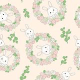 Easter wreath with easter eggs hand drawn seamless pattern. stock illustration