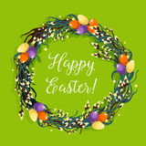 Easter wreath with egg and willow for card design Royalty Free Stock Images