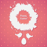Easter wreath with eggs and birds. Perfect for  invitations, pos Stock Photos