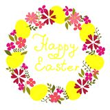 Easter wreath with eggs and flowers. Stock Images