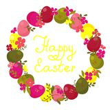 Easter wreath with eggs and flowers. Royalty Free Stock Photography