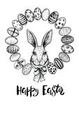 Easter wreath with eggs and head of a hare with bow. Happy Easter black and white card. Easter wreath with eggs and head of a hare with bow. Happy Easter modern Stock Photography
