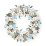 Easter wreath - elegant decorated with quail eggs flowers and leafs - blue gray white and green color. Easter wreath - elegant decorated with quail eggs flowers stock illustration