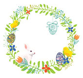 Easter wreath. Floral Easter wreath with rabbit, chicken and eggs Stock Photo
