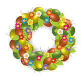 Easter wreath. With flowers and grows Royalty Free Stock Images
